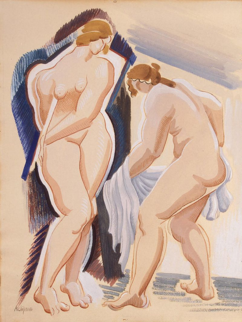 Two Nude Female Figures with a Cloth | Archipenko Alexander | oil painting