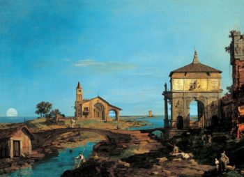 An Island in the Lagoon with a Gateway and a Church | Unknown Artist | oil painting