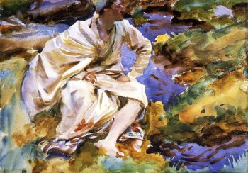 A Man Seated by a Stream Val d Aosta Pertud | John Singer Sargent | oil painting