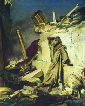 Cry of prophet Jeremiah on the Ruins of Jerusalem | Ilia Efimovich Repin | oil painting
