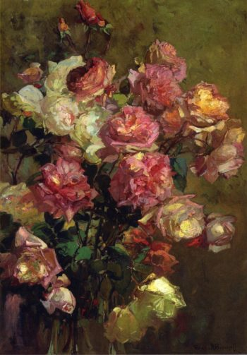 A Glass Vase full of Roses | Franz Bischoff | oil painting