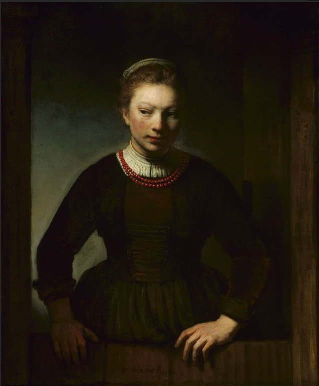 Young Girl at an Open Half-Door | Rembrandt | oil painting