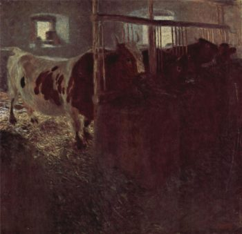 Cows in the barn | Gustav Klimt | oil painting
