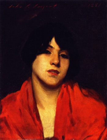 Head of a Venetian Model in a Scarlet Shawl | John Singer Sargent | oil painting