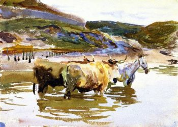 A Horse and Two Oxen at a Ford | John Singer Sargent | oil painting