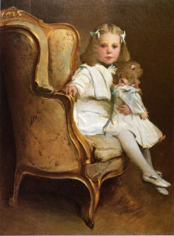 Portrait of a Young Girl with Her Doll | John White Alexander | oil painting