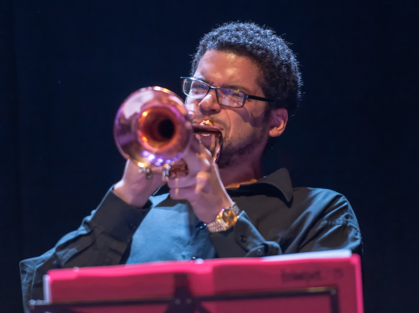 Josh Evans with the Oliver Lake Big Band at Roulette