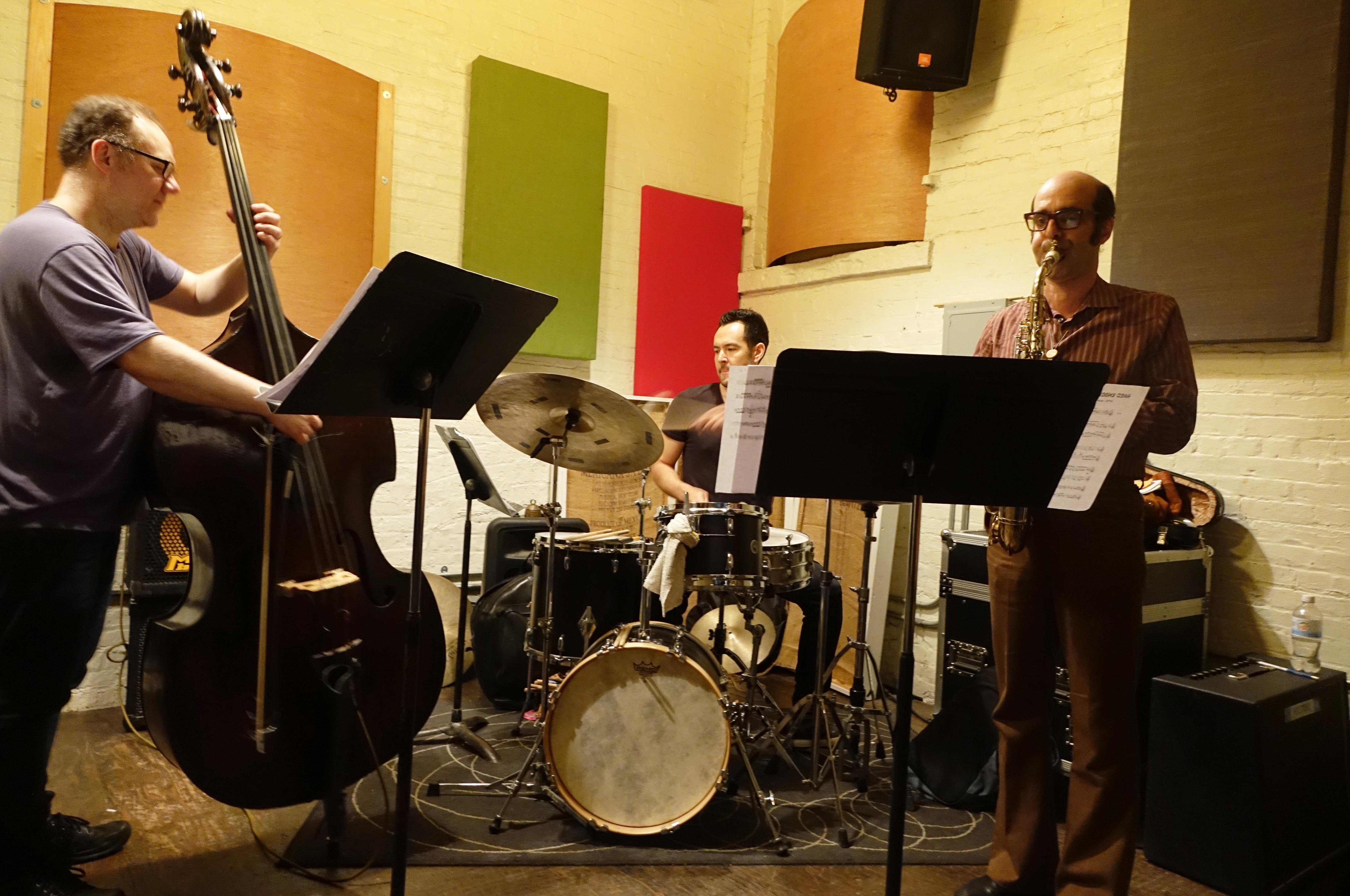Sean Conly, Tomas Fujiwara and Michael Attias at Ibeam, Brooklyn in May 2018