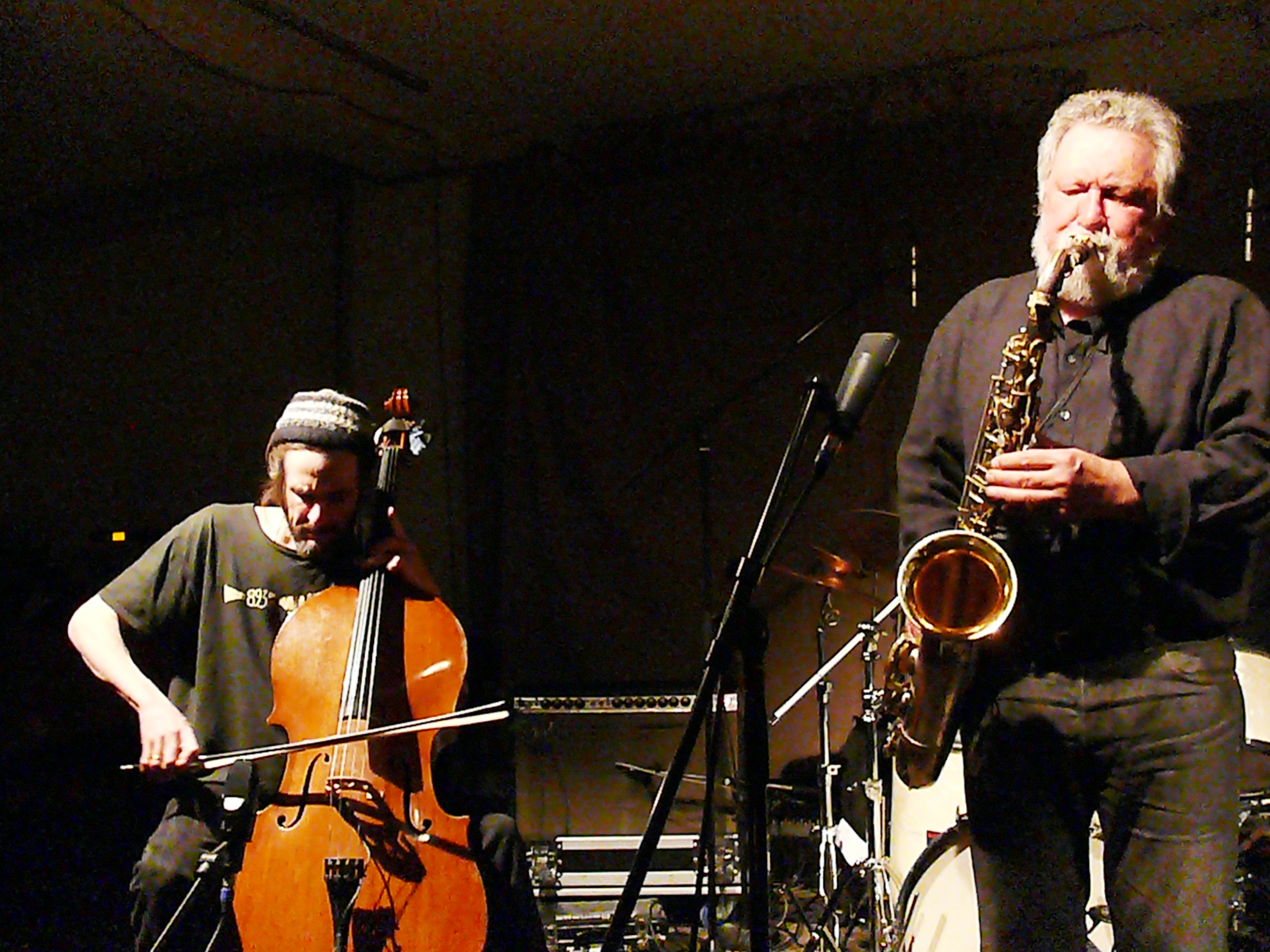 Fred Lonberg-Holm and Evan Parker at Cafe Oto, London in March 2012