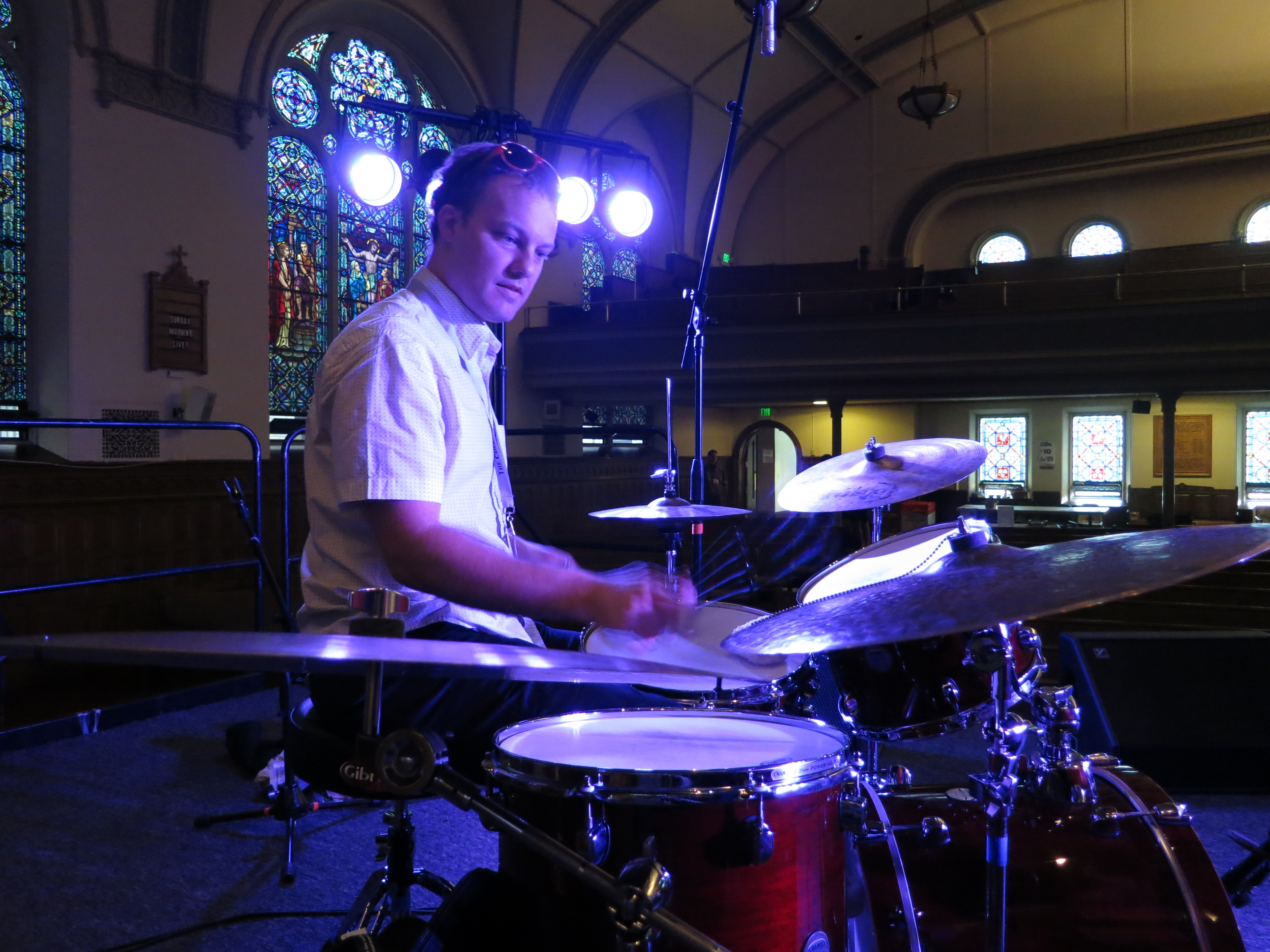 Scott McLemore During Soundcheck at the Rochester Jazz Festival