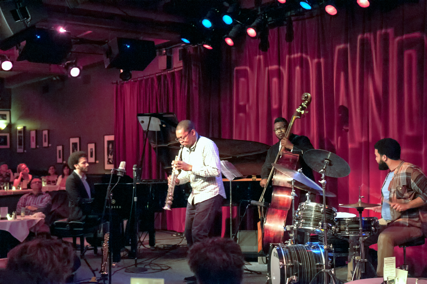 David Vireilles, Ravi Coltrane, Dezron Douglas and Kush Abadey with the Ravi Coltrane Quartet at Birdland Jazz Club in Nyc
