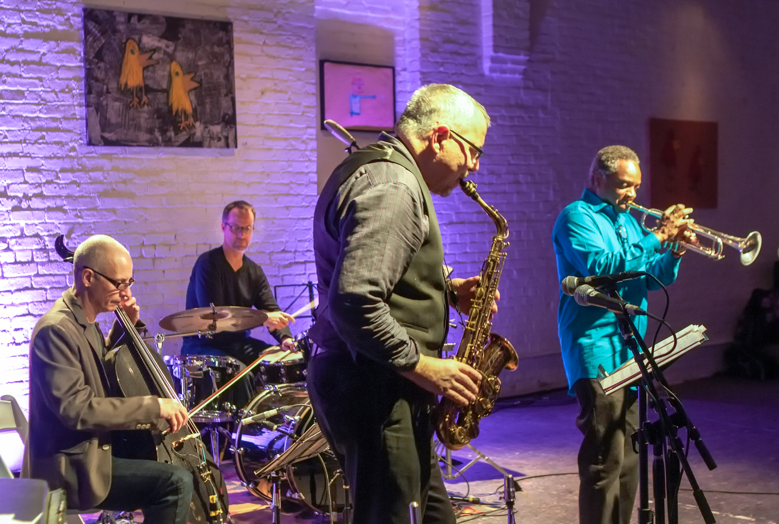 Marty Ehrlich, Erik Friedlander, Michael Sarin and James Zollar with Rites Quartet at Shapeshifter Lab