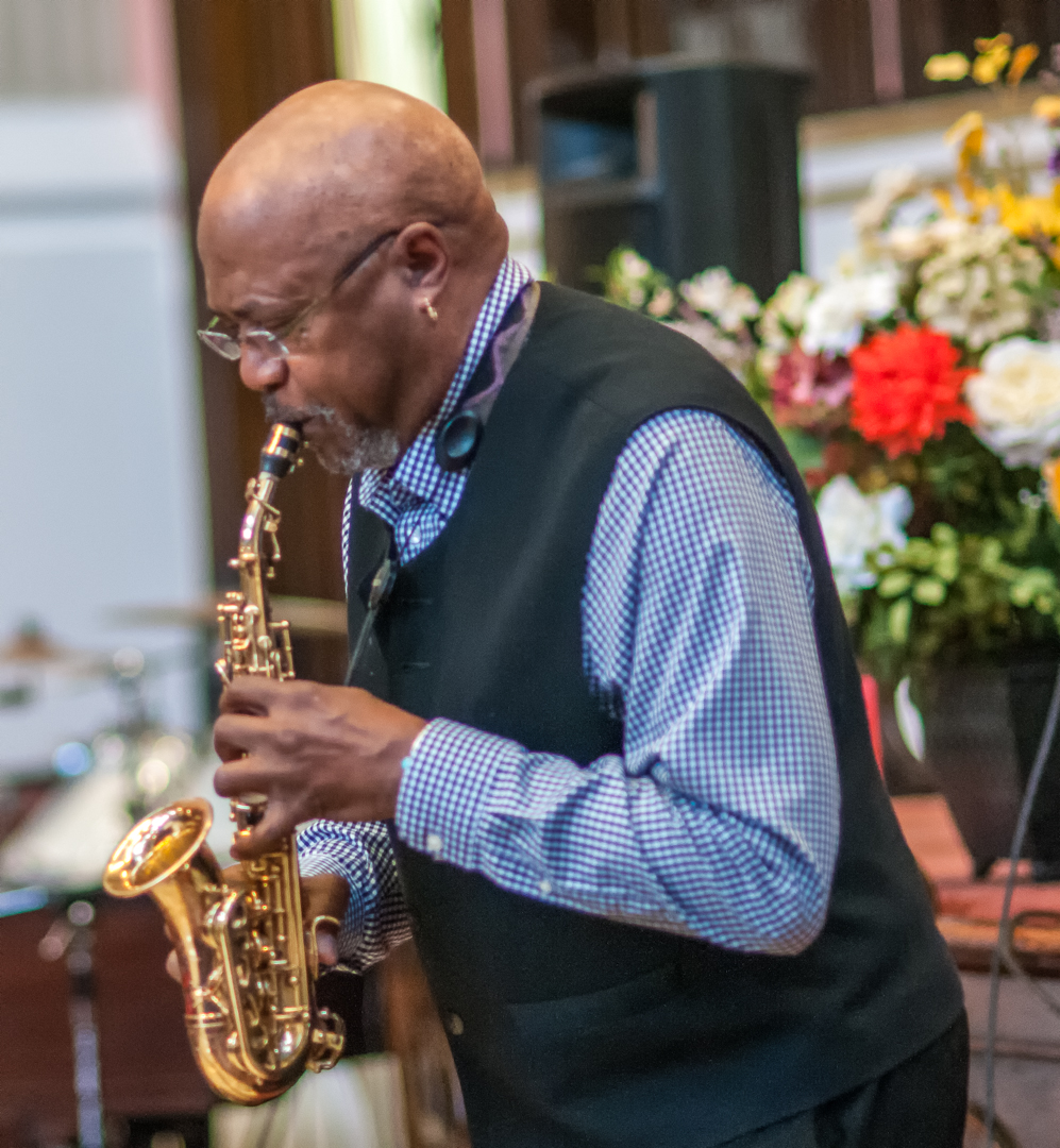 Oliver lake with trio at mount morris ascenion presbyterian church