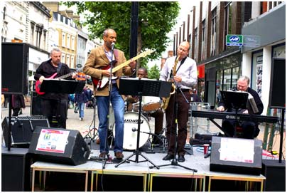 Anton Browne, Steve Cooper, Vince Dunn, Geoff Castle 24370 Croydon Jazz Festival, North End, Croydon, UK. June 2008 Images Of