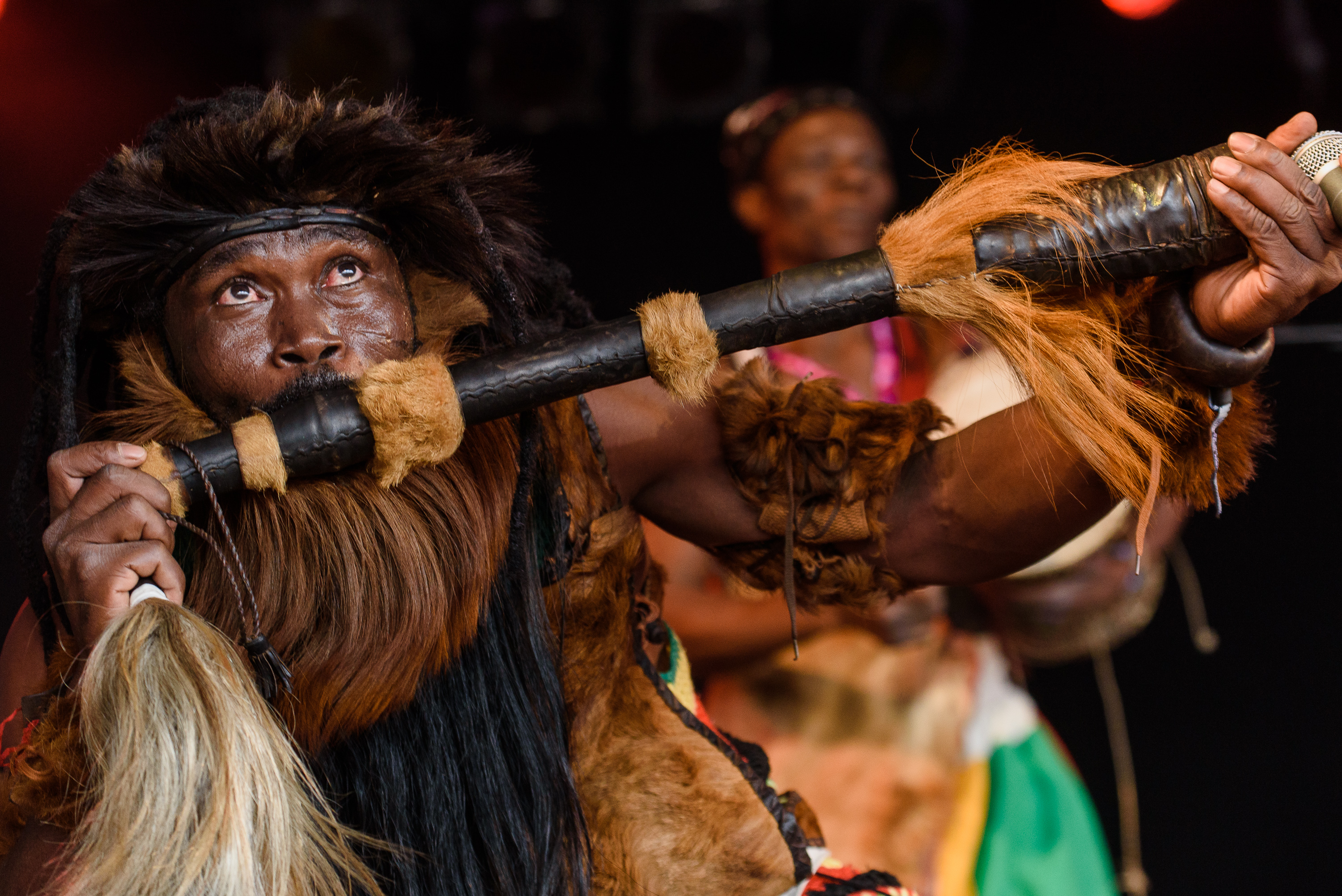 King Ayisoba's leathery flute player