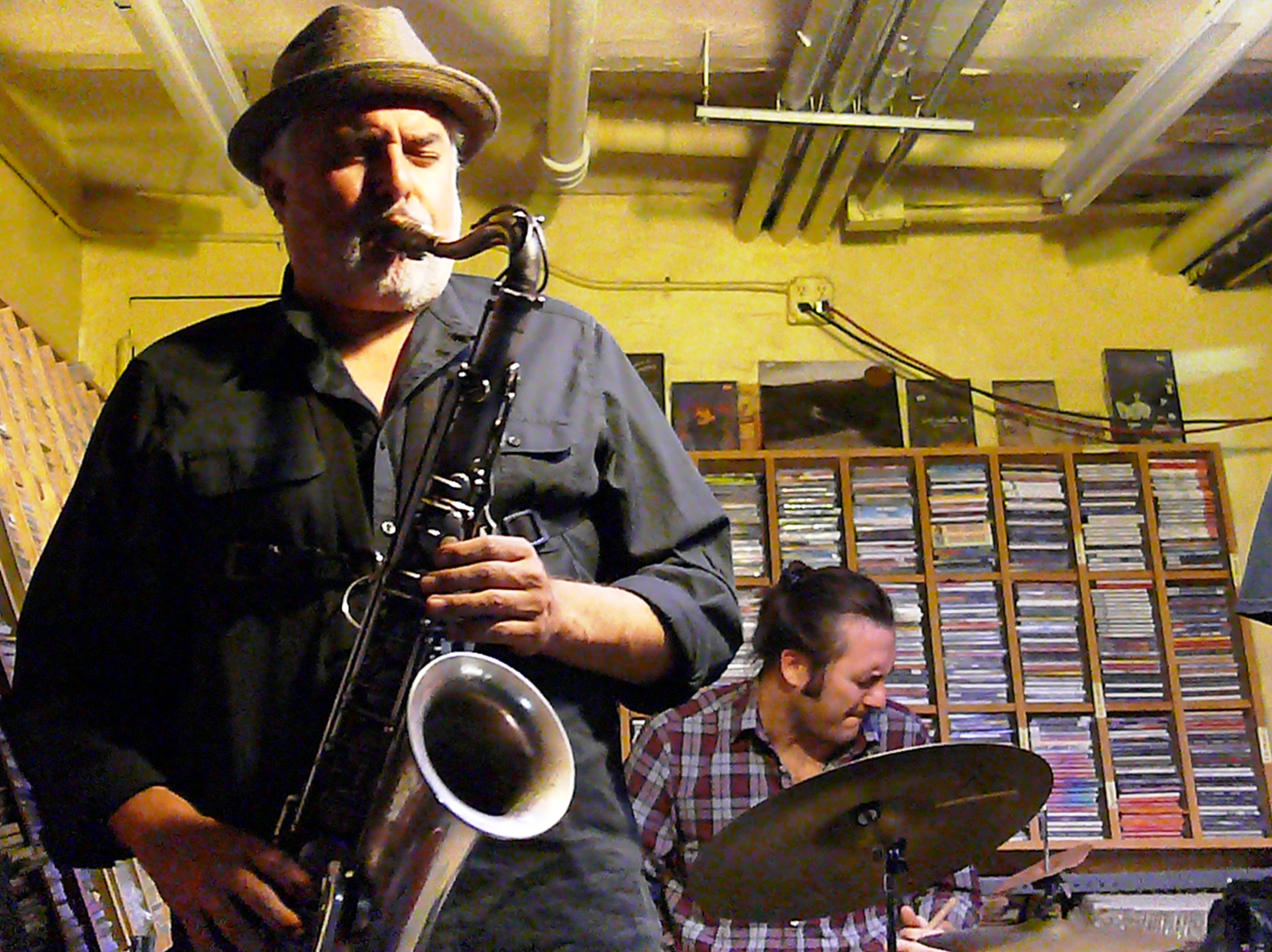 Tony Malaby and Joe Hertenstein at Downtown Music Gallery, NYC in October 2016