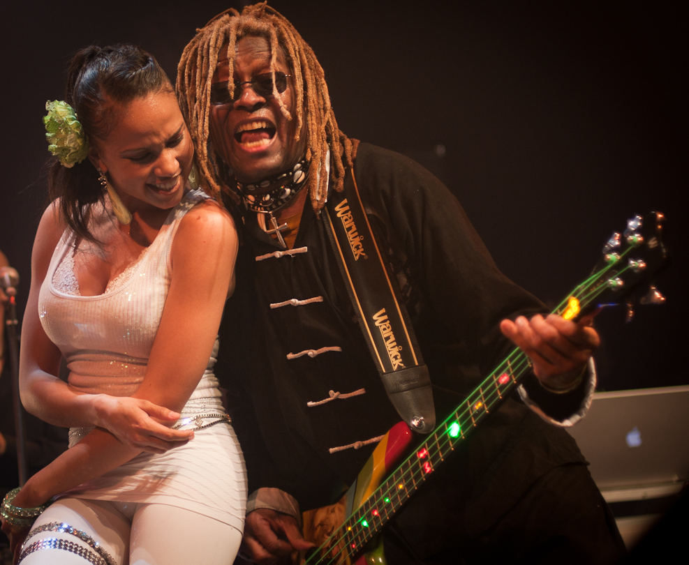 Candice Cheatham and TM Stevens with Bootsy Collins' Funk U-Nity Band at the Montreal International Jazz Festival 2011
