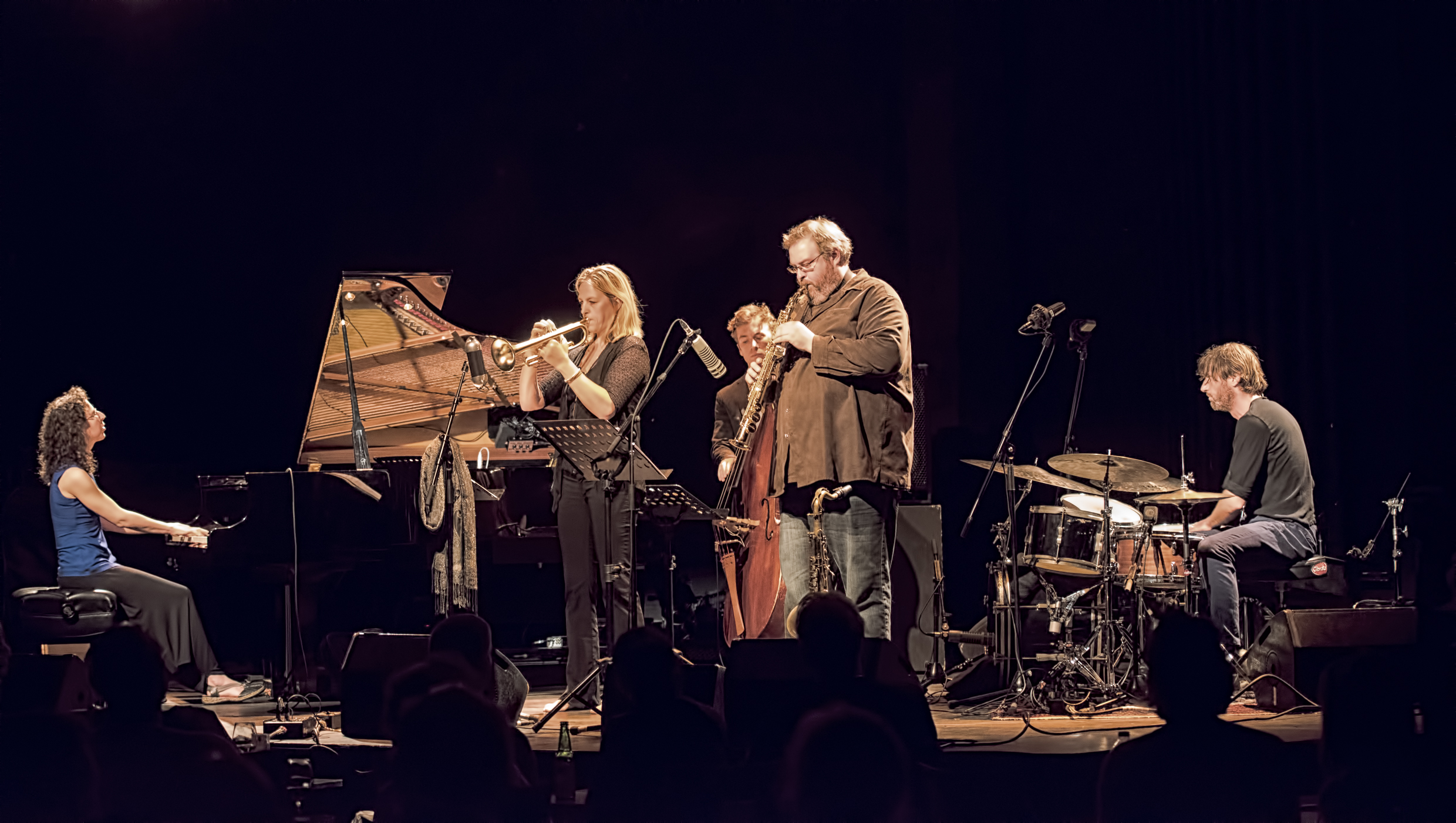 Marianne Trudel, Ingrid Jensen, Remi-Jean Leblanc, Jonathan Stewart and Robbie Kuster with the Marianne Trudel 4 at the Montreal International Jazz Festival 2015