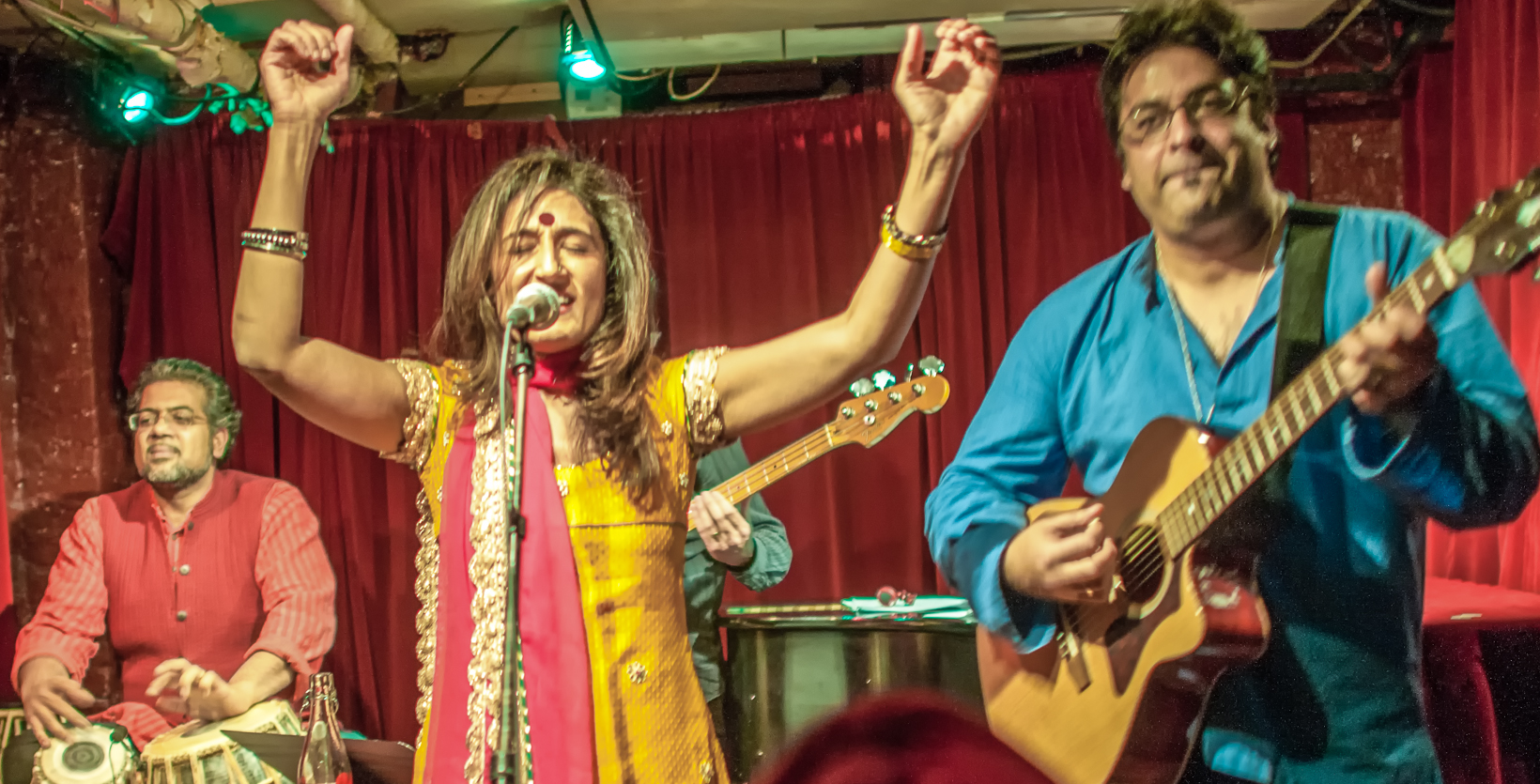 Sameer gupta, kiran ahluwalia and rez abassi at the cornelia street cafe