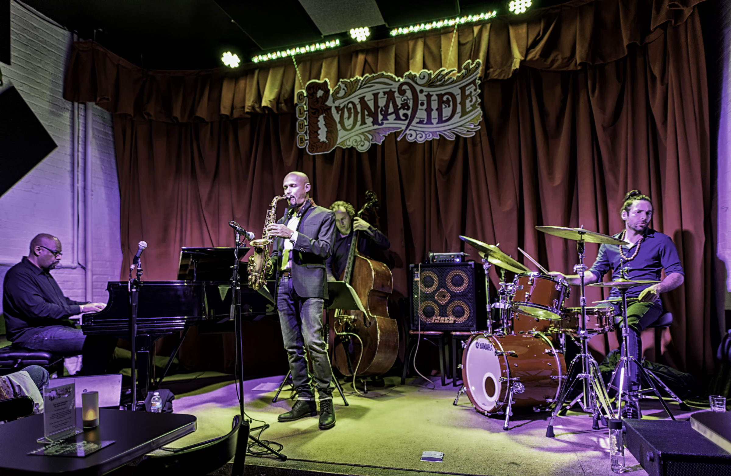 Luis Perdomo, Miguel Zenon, Hans Glawischnig and Henry Cole with the Miguel Zenon Quartet at Club Bonafide in NYC