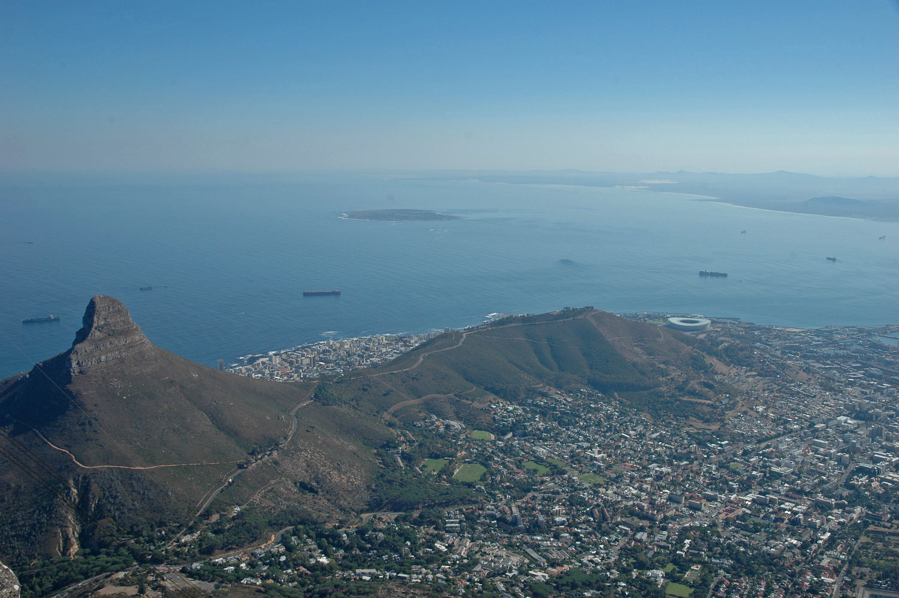 View of Lion's Head Mountain and Cape Town, from Table Mountain