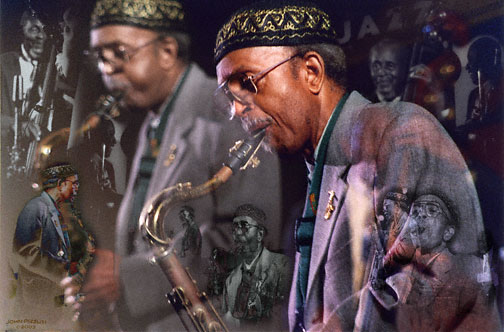Montage of Jimmy Heath Playing with Brothers, Percy and Albert at MJF 2003