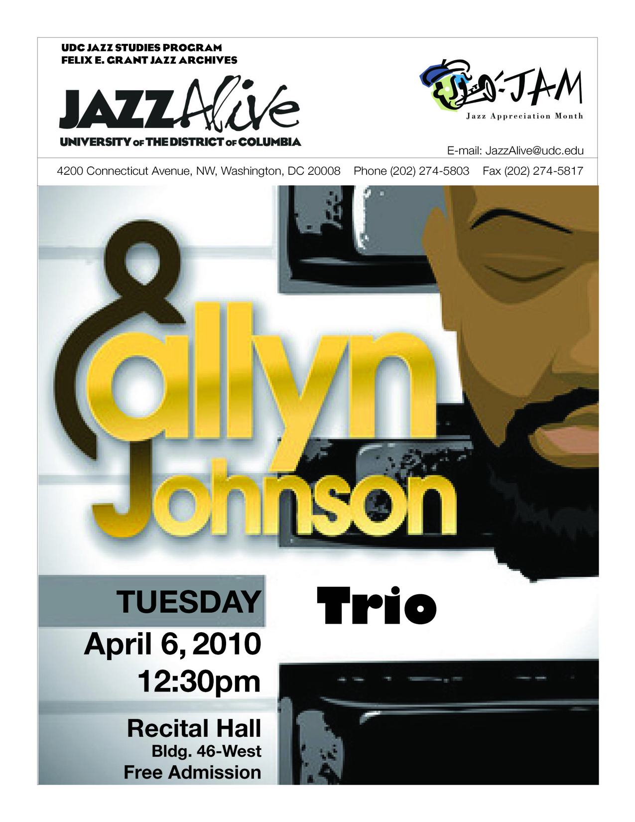 Jam@Udc 2010 - Allyn Johnson Trio - Tuesday, April 6, 2010, 12:30 PM - Free and Open to the Public