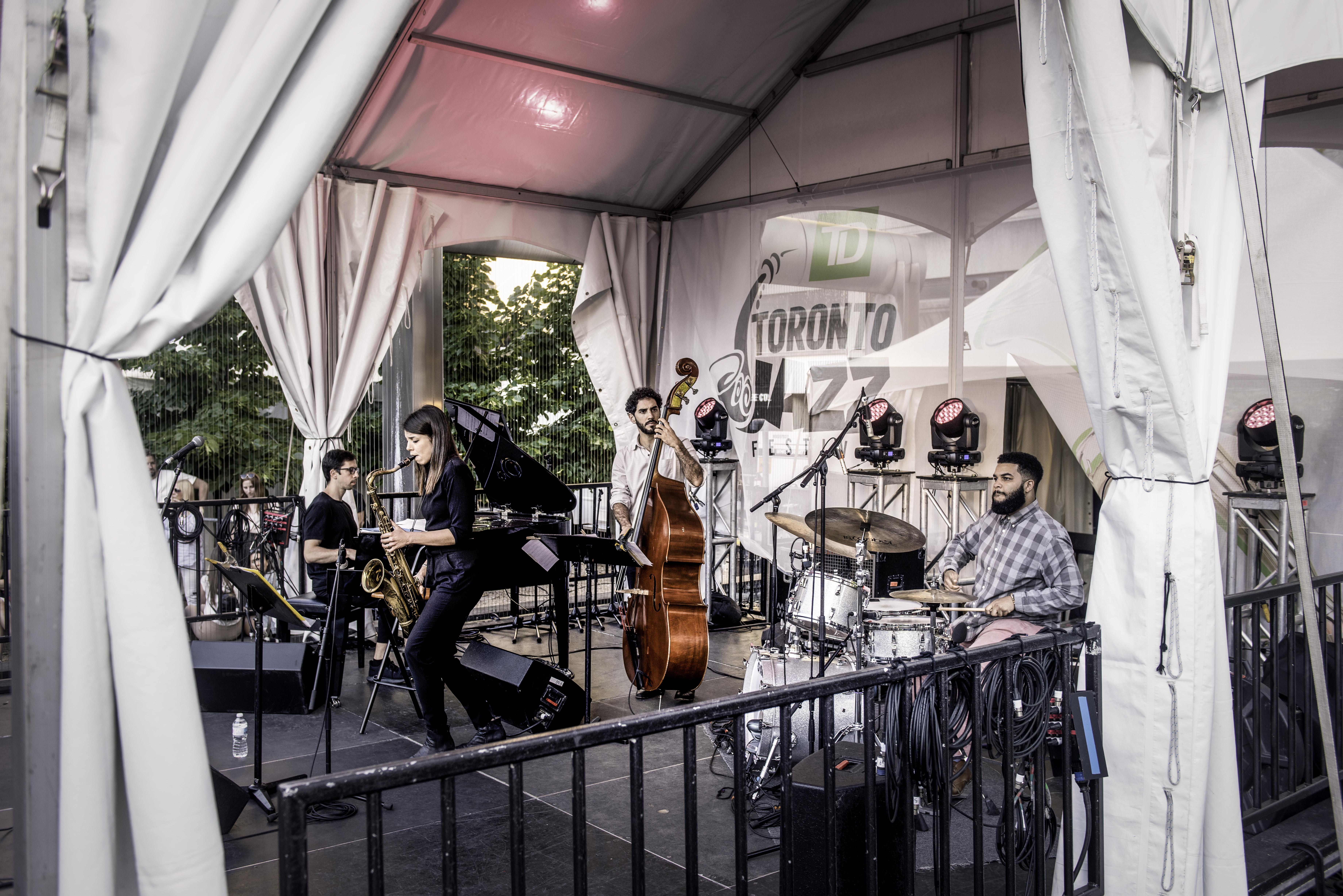 Sam Harris, Pablo Menares, Melissa Aldana and Kush Abadey at the Toronto Jazz Festival 2019