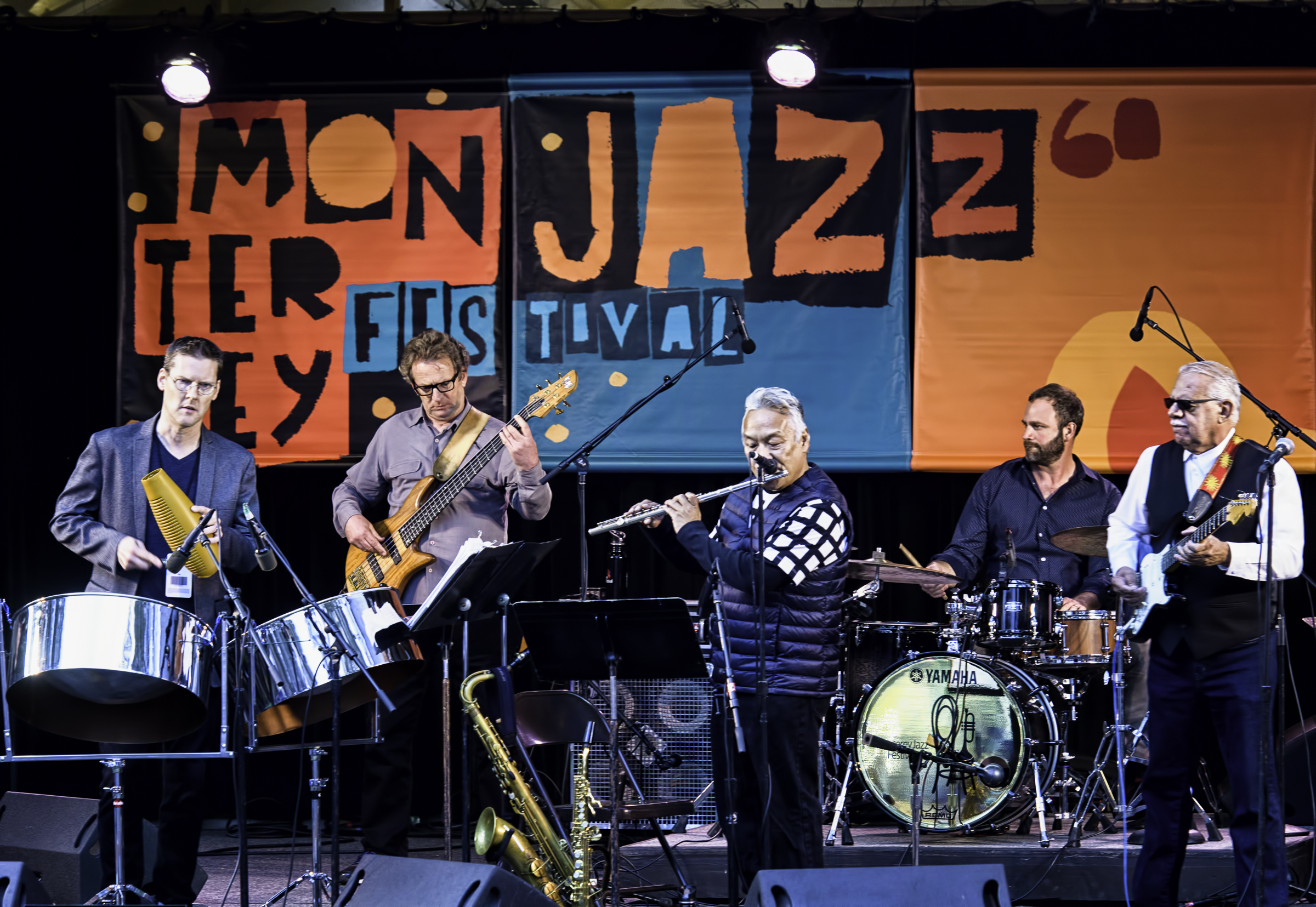 Phil Hawkins, Marc van Wageningen, Melecio Magdaluyo, Colin Douglas and Ray Obiedo with the Latin Jazz Project at the Monterey Jazz Festival