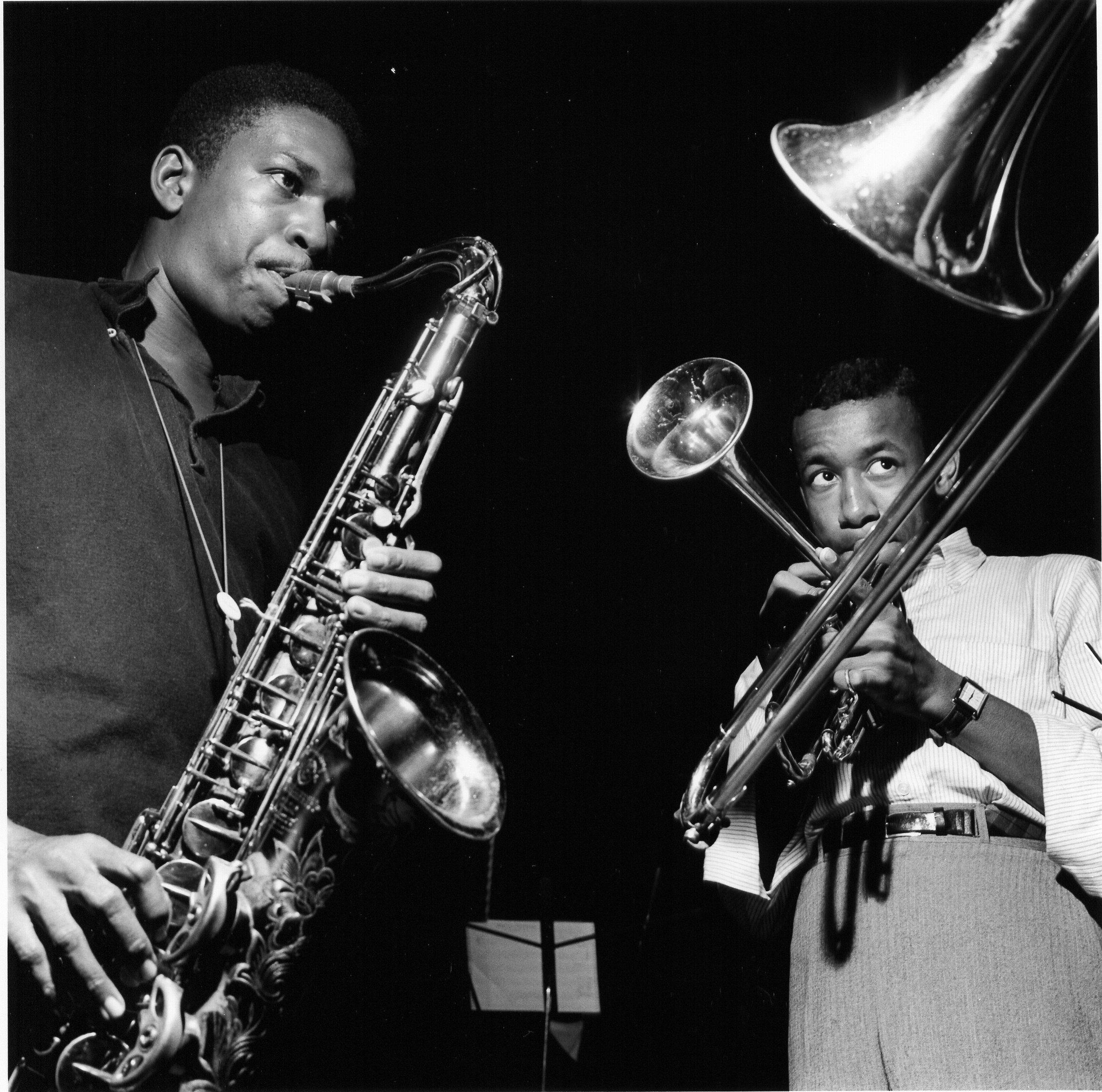 "John Coltrane with Lee Morgan at the ""Blue Ttrain"" Session"