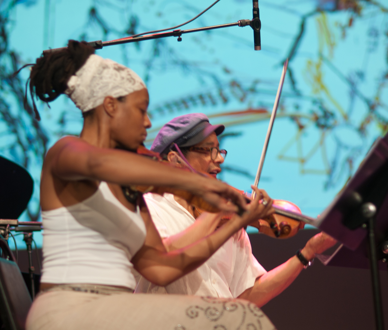 Mazz Swift and Charles Burnham with the Dick Griffin Strings Project at the Vision Festival 2011