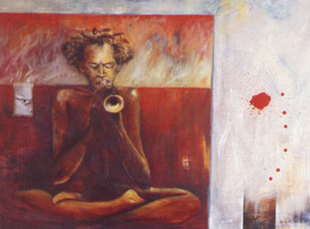 The Voice of the Silence (Homage to Don Cherry), Oil/Canvas, 47 X 63 Inches, 1.996