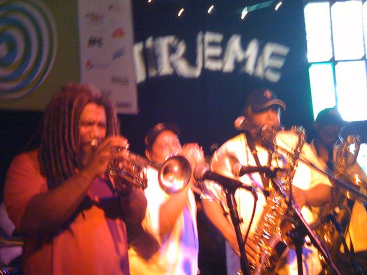 Jeff Lofton with the Dirty Dozen Brass Band