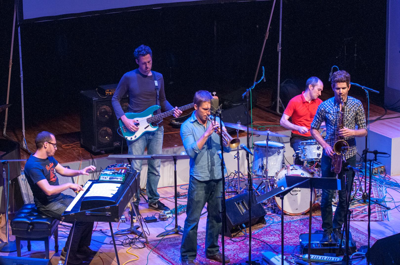 Shane Endsley, Adam Benjamin, Kaveh Rastegar, Nate Wood and Ben Wendel with Kneebody at the Vision Festival 2012