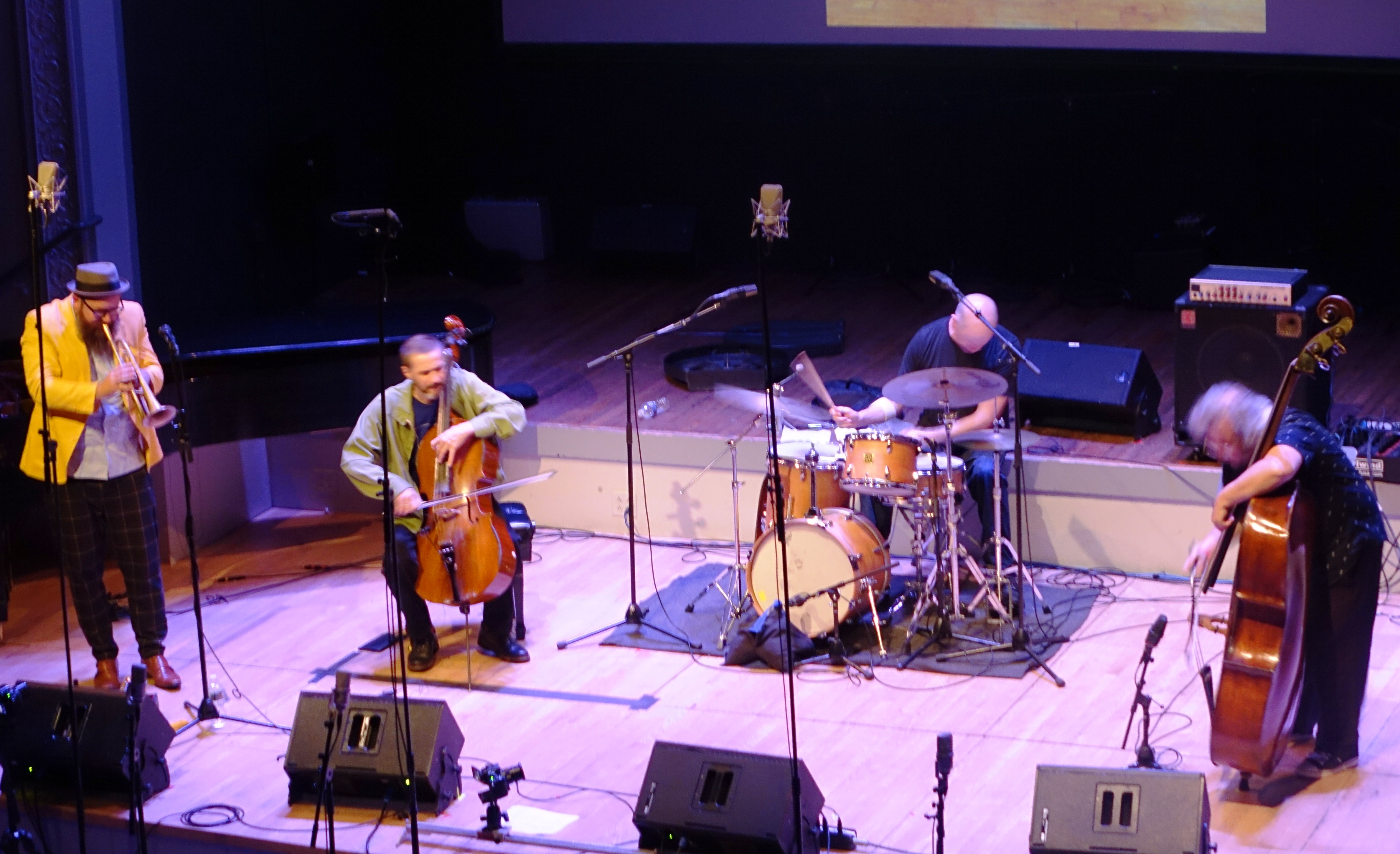 Kirk Knuffke, Fred Lonberg-Holm, Whit Dickey and Michael Bisio at the Vision Festival in Roulette, Brooklyn in June 2019