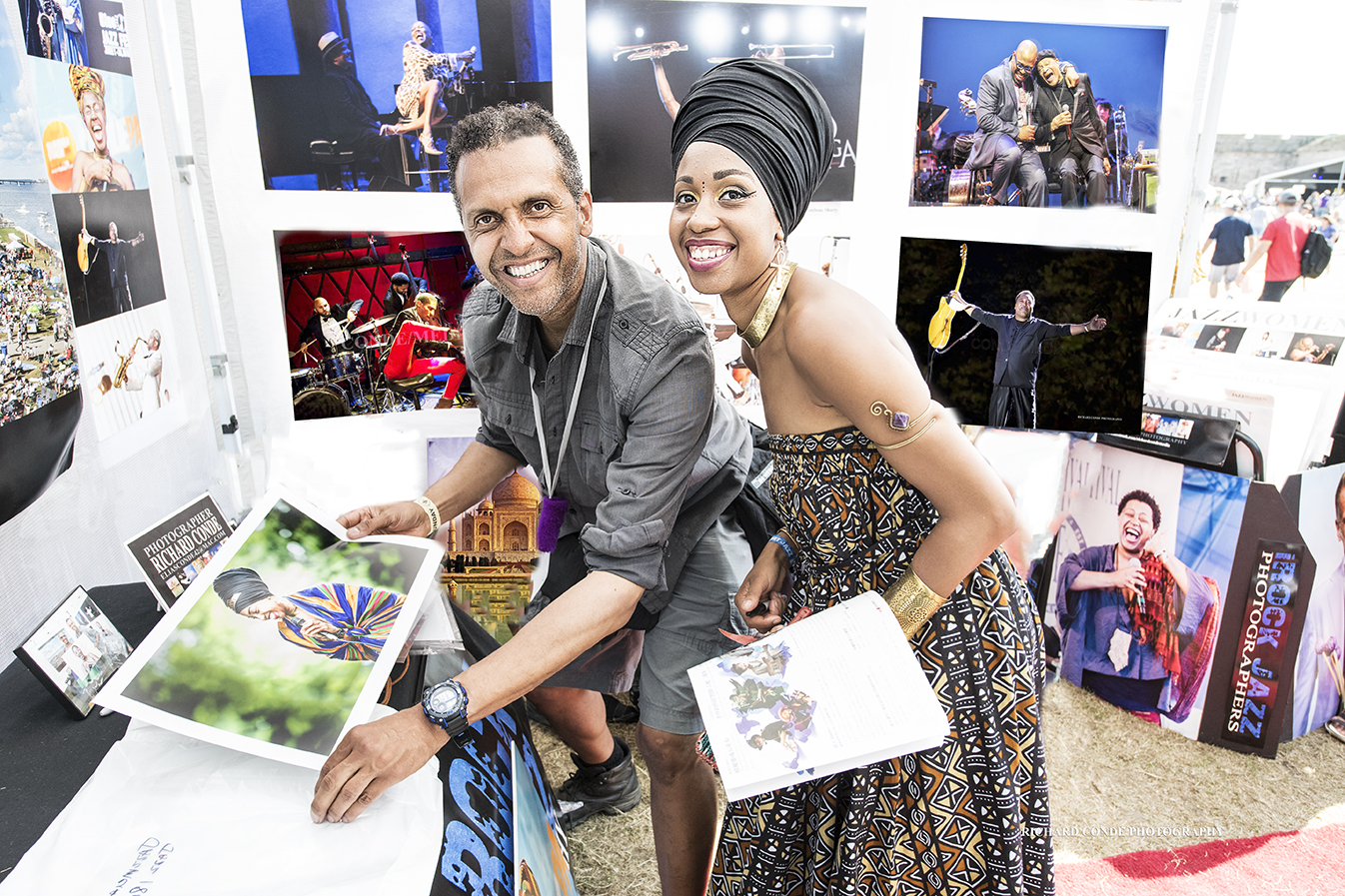 Photographer Richard Conde and Jazzmeia Horn at the 2018 Newport Jazz Festival