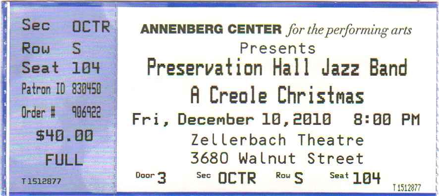 Preservation Hall Jazz Band Ticket
