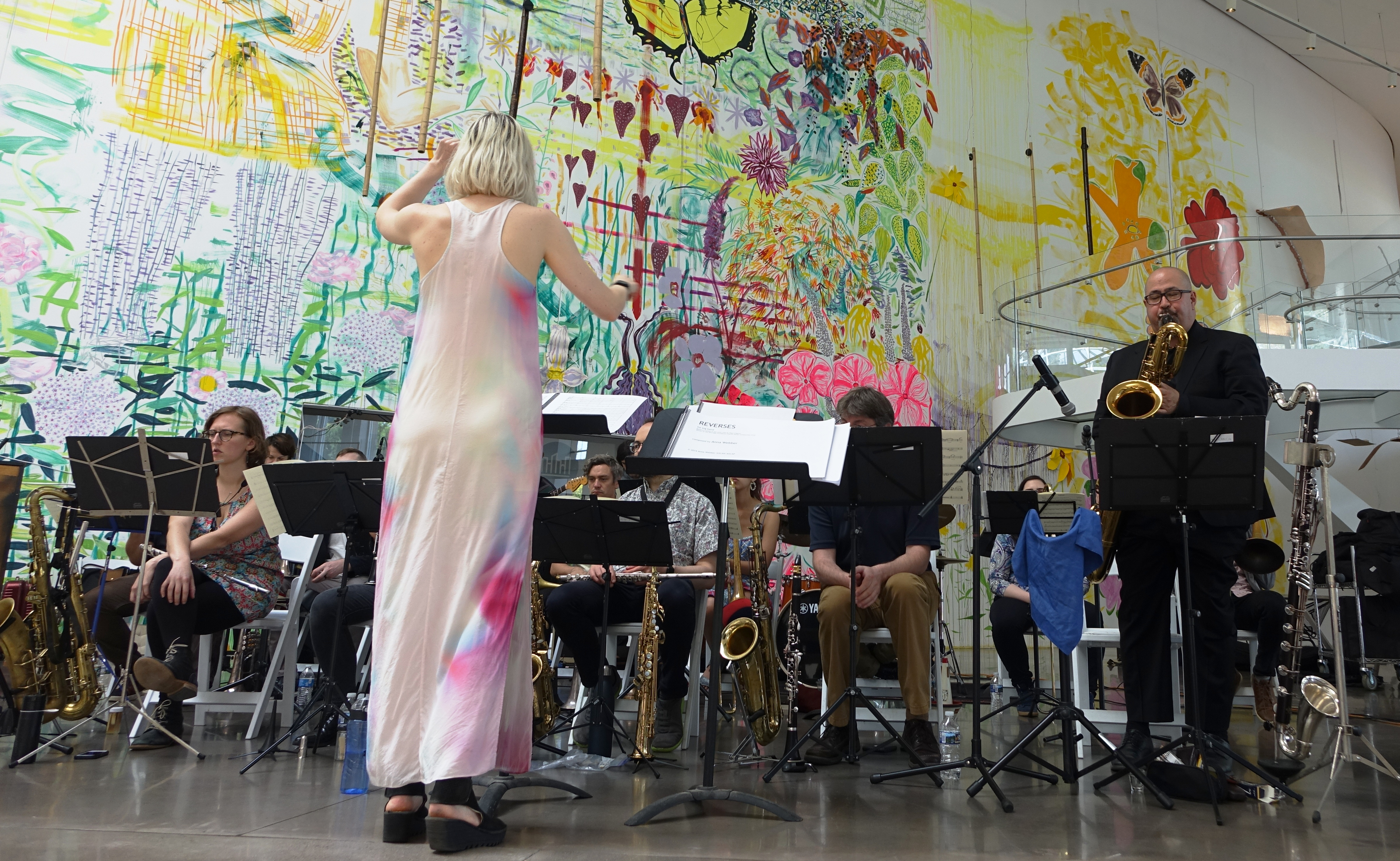 Angela Morris conducting the Webber/Morris Big Band at the Queens Museum, Queens in June 2019