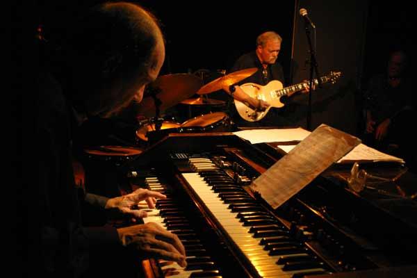 "Dan Wall and John Abercrombie with the ""John Abercrombie Organ Trio"" at Amr, Sud Des Alpes, Geneva, Switzerland, 2004"