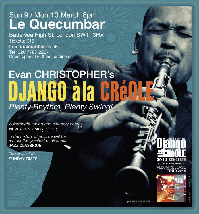 Evan Christopher Concert Poster QuecumBar