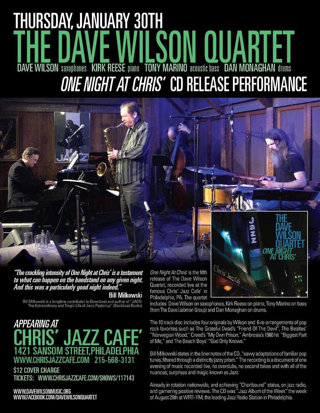 Dave Wilson Quartet CD Release ~ One Night At Chris'