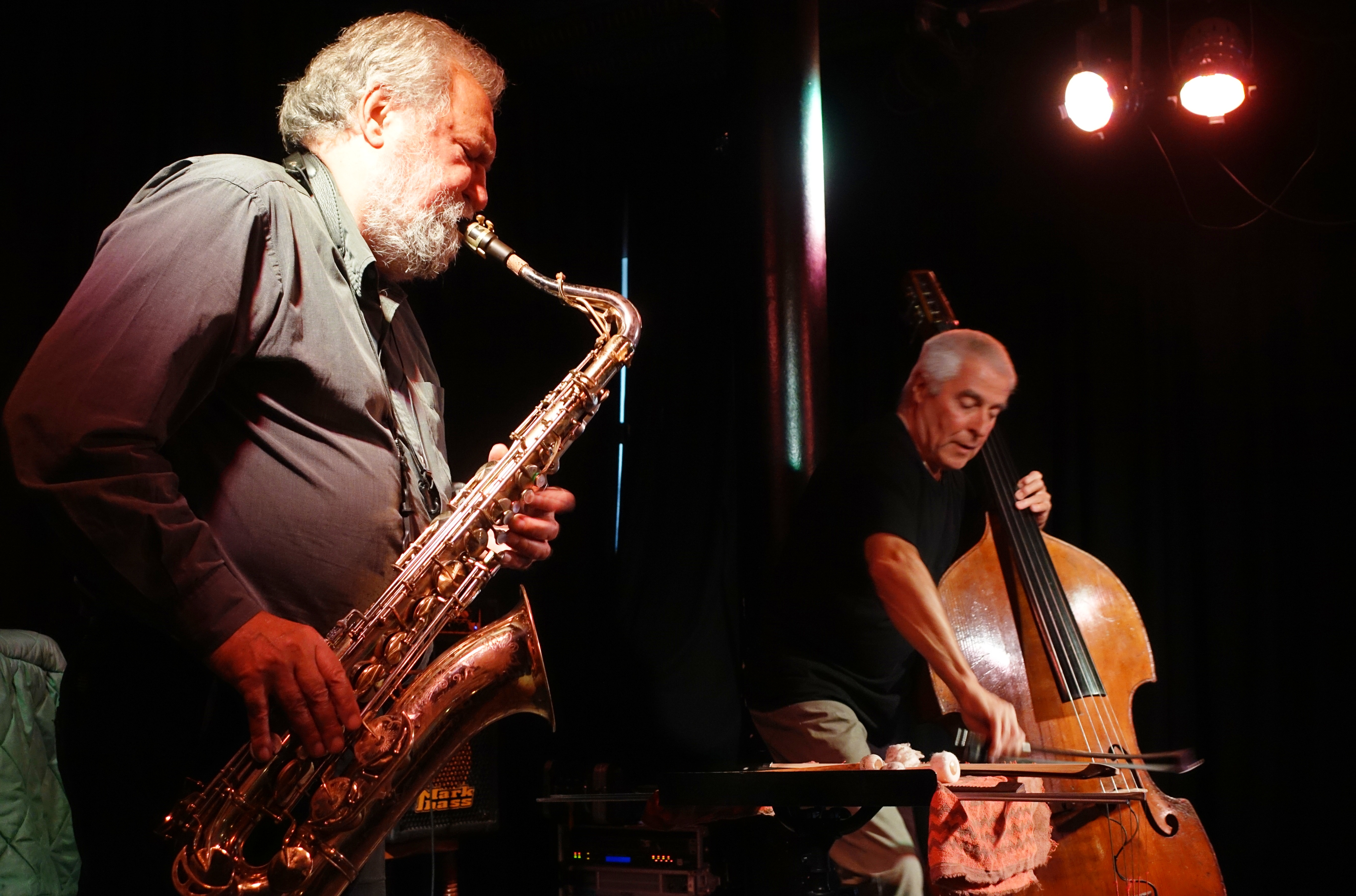 Evan Parker and Barry Guy at the Vortex, London in July 2018