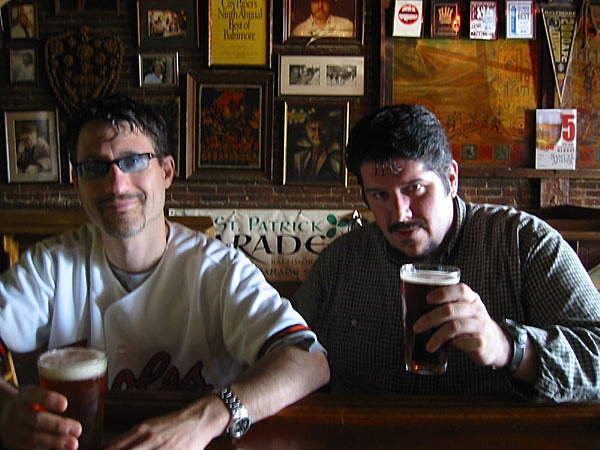 Michael Ricci and Jeff Fitzgerald Enjoy a Beverage Before a Birds Game