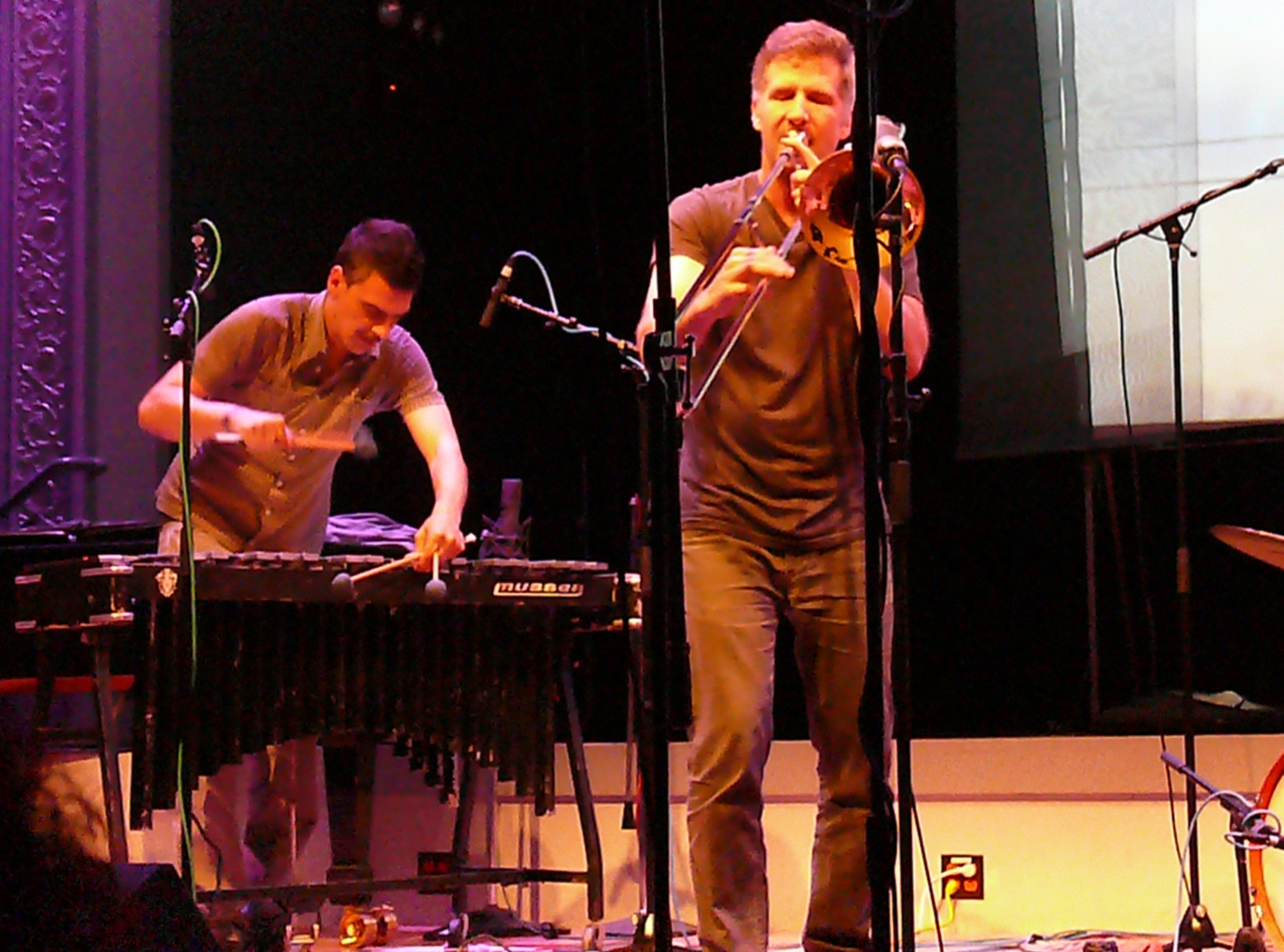 Pasquale Mira and Jeb Bishop at the Vision Festival, NYC in June 2012
