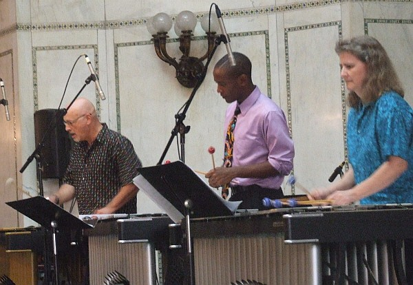 Jim Cooper, Thaddeus Tukes and Kathy Kelly with Mallet Madness at 2010 Chicago Jazz Festival