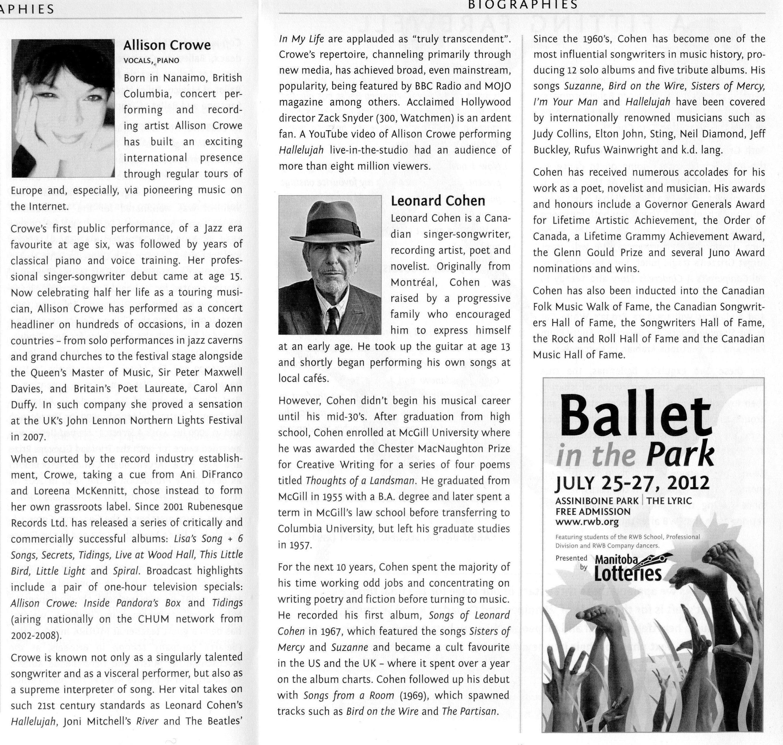 """Allison Crowe - Bio for Royal Winnipeg Ballet's """"the Doorway: Scenes from Leonard Cohen"""""""