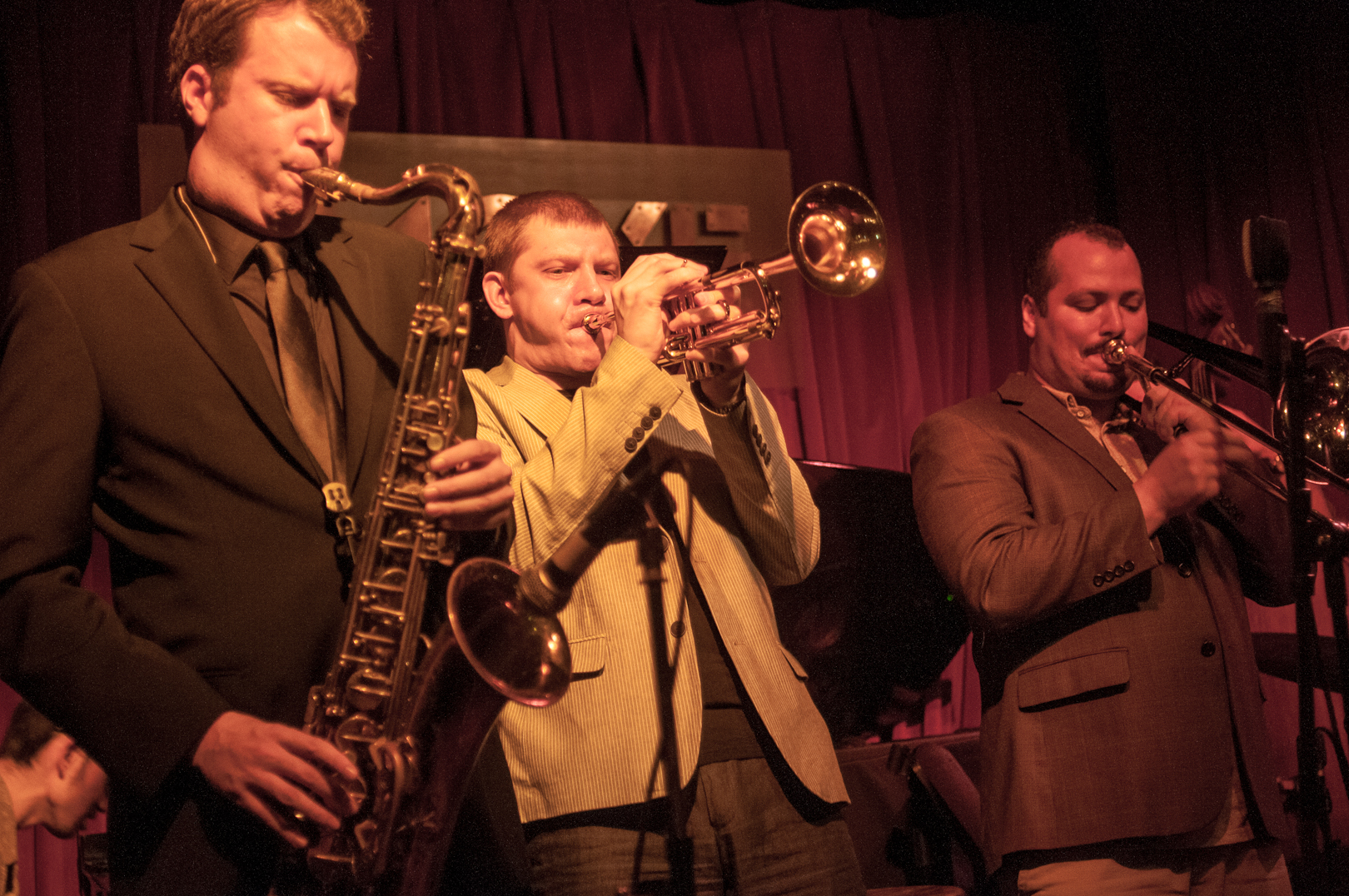 Ken Fowser, Vitaly Golvnev and Michael Dease with the Ken Fowser Quintet at Smoke Jazz Club