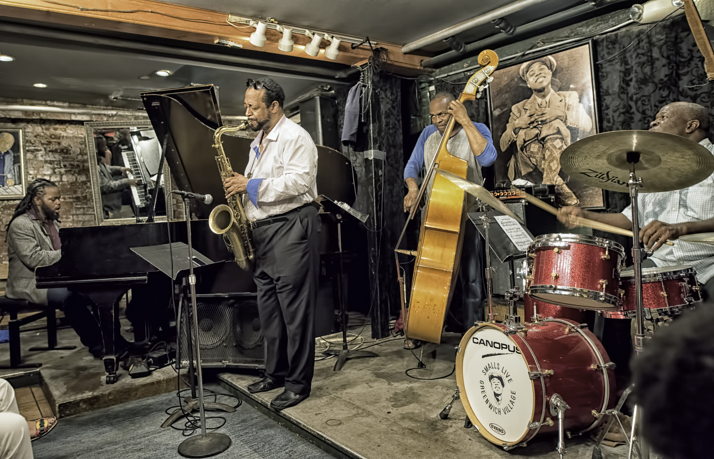 Victor Gould, Eric Wyatt, Tyler Mitchell and Bruce Cox with the Eric Wyatt Quartet at Smalls Jazz Club