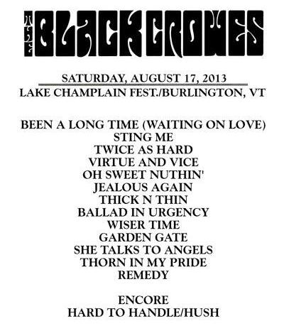 Black crowes setlist vermont 2013