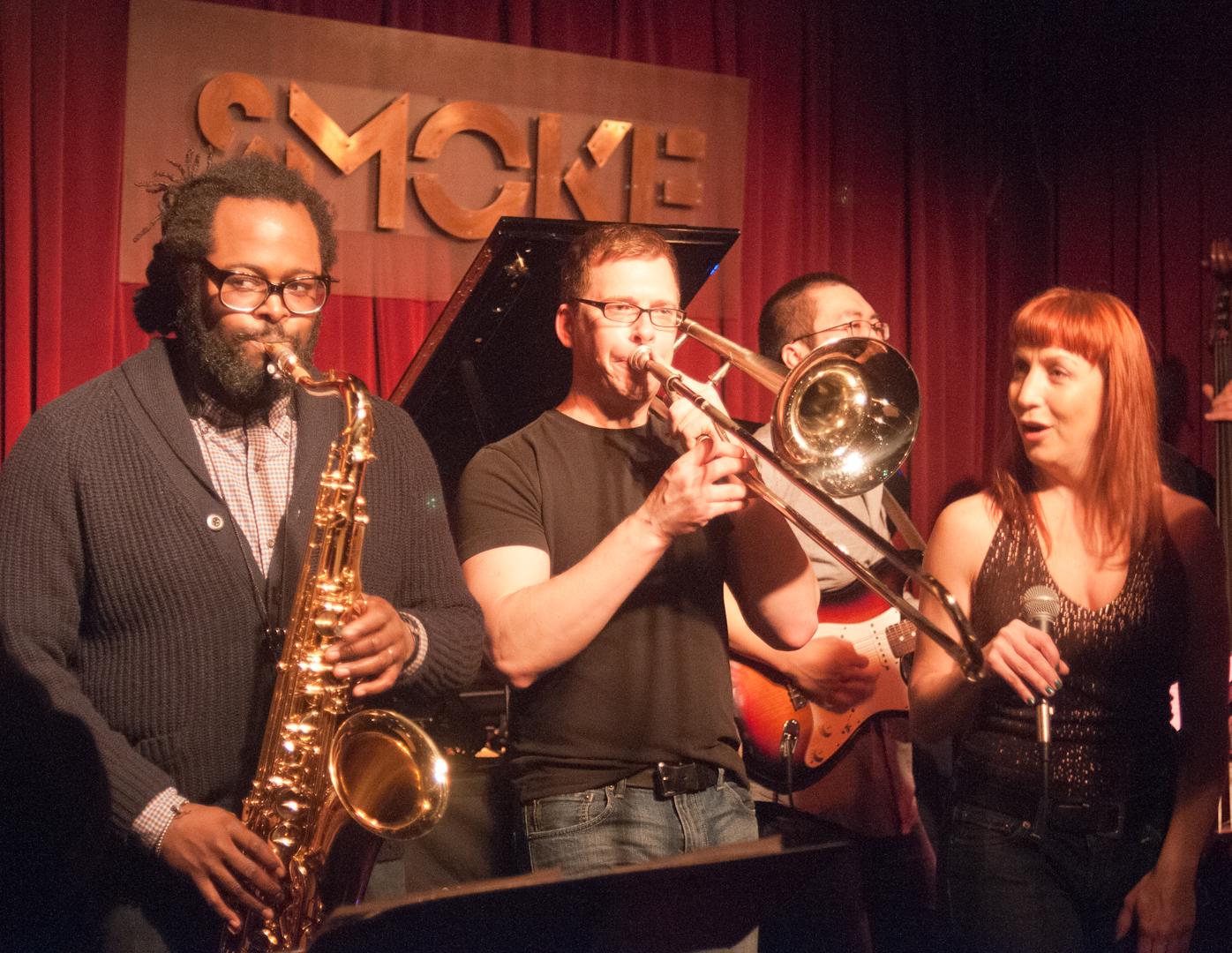 Jason Marshall, David Gibson, Victoria Cave and Mike Winnick AKA Nickel Killsmics with Nickle and Dime Ops at Smoke Jazz Club